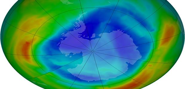 Mappa delle concentrazioni di ozono in atmosfera
